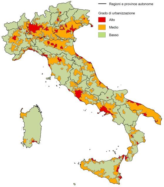 ISTAT grado di urbanizzazione 2001